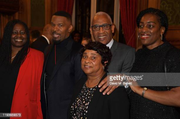 Marsha De Cordova MP Jamie Foxx Baroness Doreen Lawrence Lord Simon Woolley and Kate Osamor MP attend an evening at the House Of Lords for the...