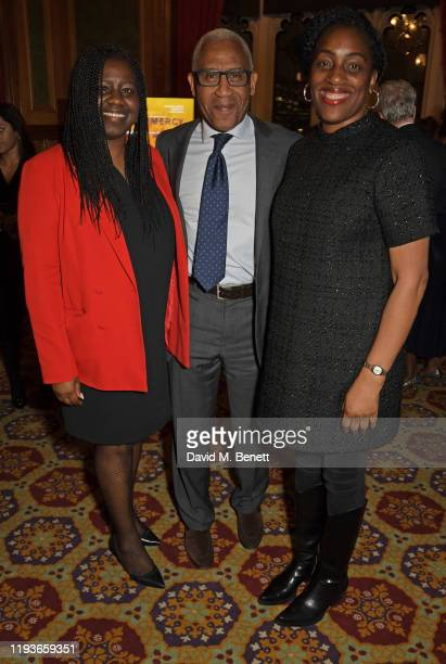Marsha De Cordova MP Lord Simon Woolley and Kate Osamor MP attend an evening at the House Of Lords for the upcoming film Just Mercy on January 14...