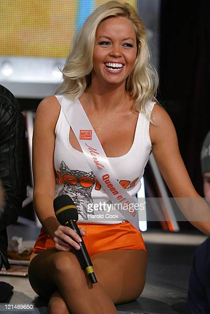 Marsha Hooters Calendar Girl during Hooters Calendar Girls Visit FUSE's Daily Download October 19 2004 at FUSE Studios in New York City New York...