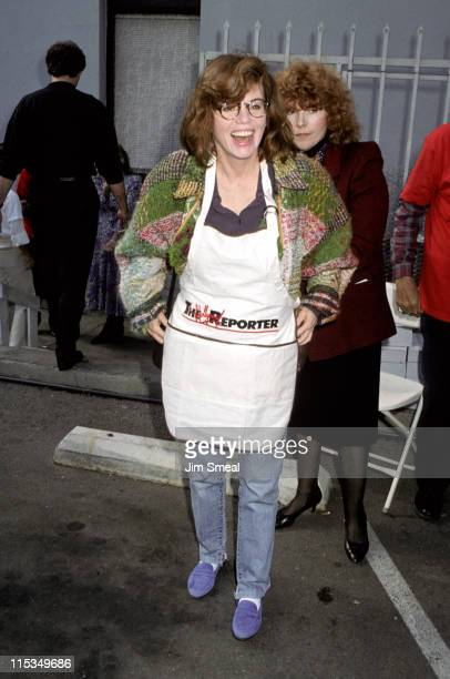 Marsha Mason during Hollywood Reporter Feeds Homeless December 28 1989 at Hollywood Reporter Parking Lot in Los Angeles California United States