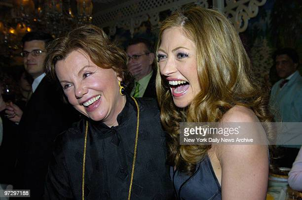 Marsha Mason has a laugh with fellow cast member Rebecca Gayheart at Tavern on the Green during a party celebrating the opening of their play Steel...