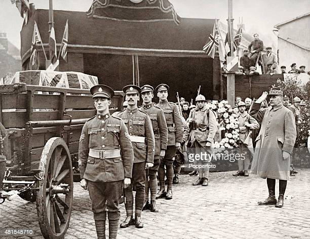 Marshal Ferdinand Foch French World War One general saluting the British Unknown Warrior at Boulogne Harbour circa November 1920