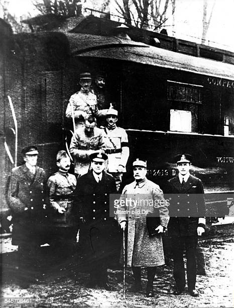 Marshal Foch and his accompaniement leaving Compiegne in order to inform the French government in Paris about the armistice agreement with Germany....