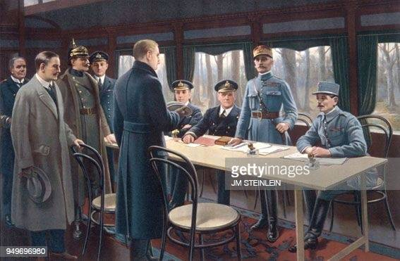 Marshal FOCH and the German delegation on the signature of the armistice on German request near Rothondes in the Oise department on November 11 1918...