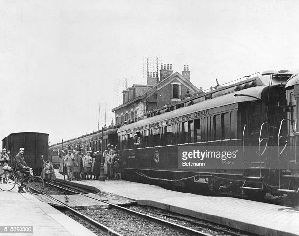 Marshal Foch's train in which the ceasefire ending World War I was agreed upon arrives at the station at Compiegne