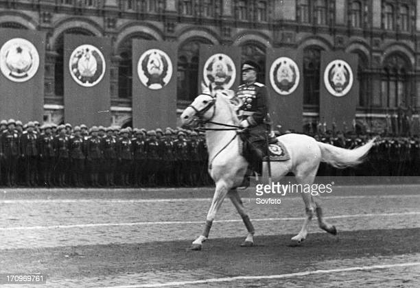 Marshal georgy zhukov riding across red square, reviewing the troops, prior to the victory parade on june 24, 1945.