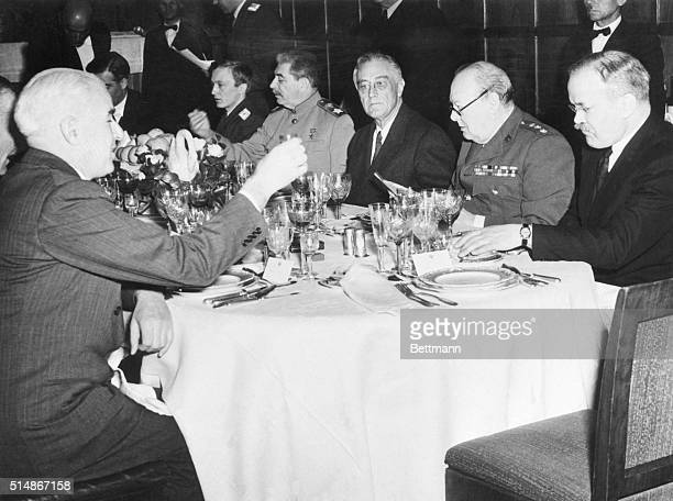 Marshal Josef Stalin President Roosevelt and Prime Minister Winston Churchill dining at Livadia Palace during the 1945 Yalta Conference