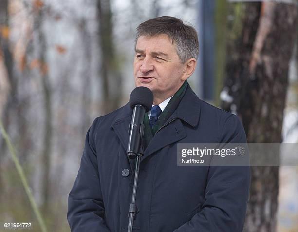 Marshal of the Polish Sejm Marek Kuchcinski during the Foundation Stone Laying Ceremony forJozef Pilsudski museum inSulejowek Poland on 9 November...