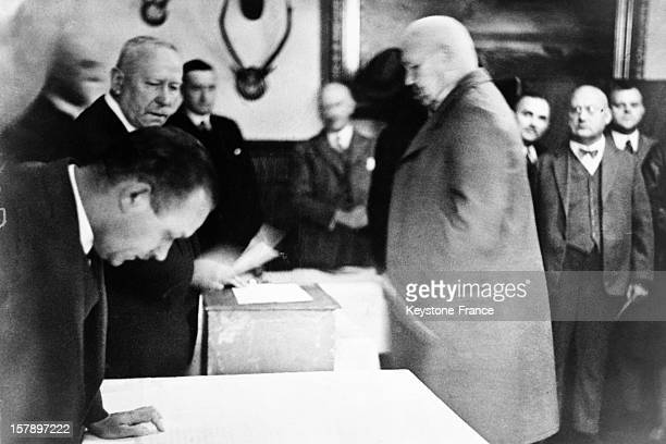 Marshal Paul Von Hindenburg on election day in September 1930 in Berlin Germany