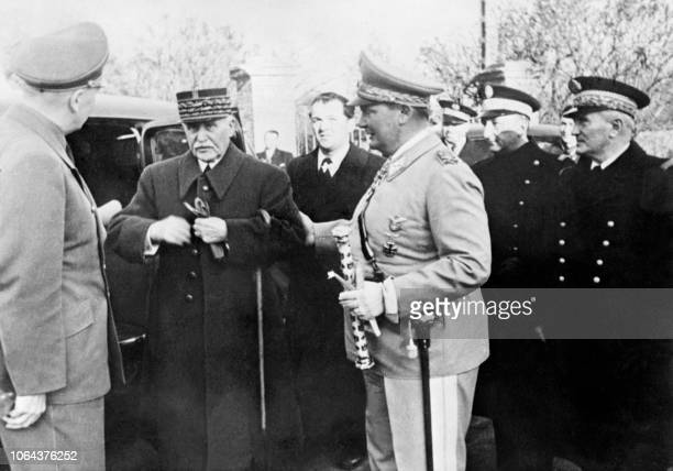 Marshal Philippe Pétain French chiefofstate during Nazi occupation of France meets with Hermann Goering the founder of Nazi secret police Gestapo and...
