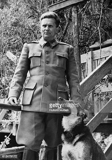 Marshal Tito at his fortified partisan headquarters in the Balkans mountains with a German police dog called Tiger Tito real name Josip Broz served...