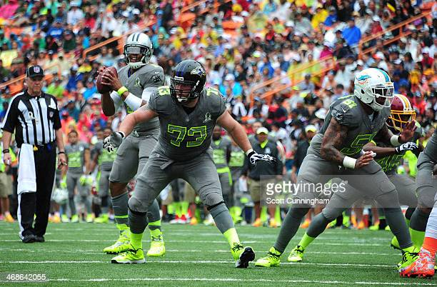 Marshal Yanda of the Baltimore Ravens and Mike Pouncey of the Miami Dolphins and Team Sanders block against Team Rice during the 2014 Pro Bowl at...