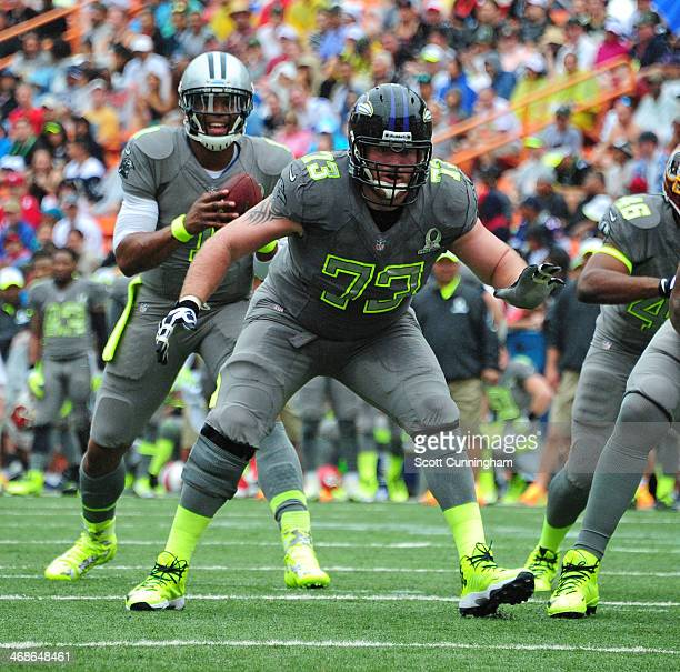Marshal Yanda of the Baltimore Ravens and Team Sanders blocks against Team Rice during the 2014 Pro Bowl at Aloha Stadium on January 26 2014 in...