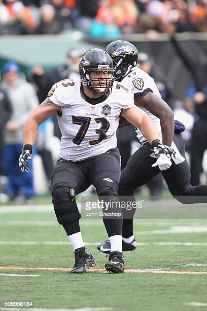 Marshal Yanda of the Baltimore Ravens blocks downfield during the game against the Cincinnati Bengals at Paul Brown Stadium on January 3 2016 in...