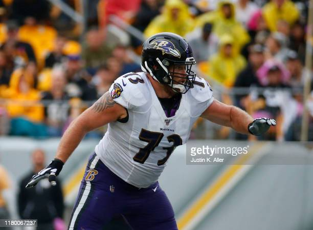 Marshal Yanda of the Baltimore Ravens in action against the Pittsburgh Steelers on October 6 2019 at Heinz Field in Pittsburgh Pennsylvania