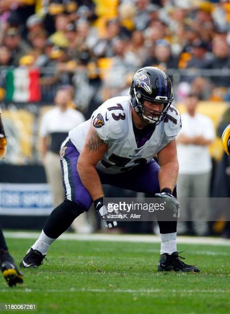 Marshal Yanda of the Baltimore Ravens in action against the Pittsburgh Steelers on October 6, 2019 at Heinz Field in Pittsburgh, Pennsylvania.