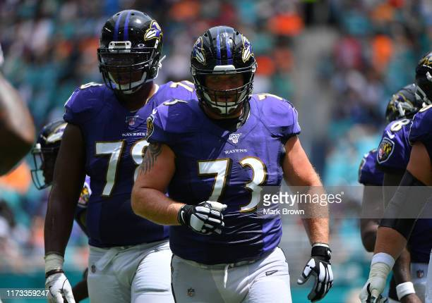 Marshal Yanda of the Baltimore Ravens lines up against the Miami Dolphins at Hard Rock Stadium on September 08 2019 in Miami Florida