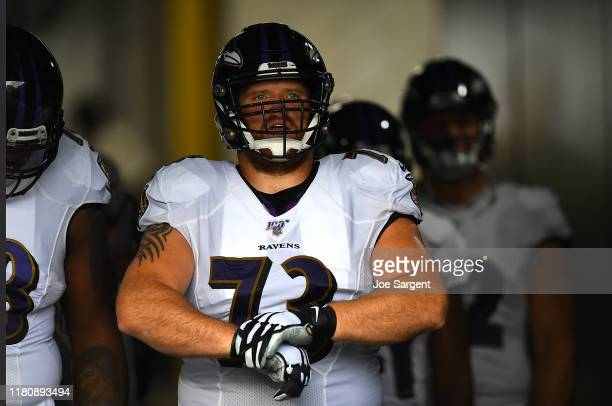 Marshal Yanda of the Baltimore Ravens looks on during the game against the Pittsburgh Steelers at Heinz Field on October 6, 2019 in Pittsburgh,...
