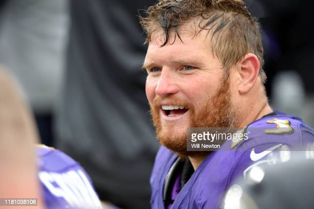 Marshal Yanda of the Baltimore Ravens looks on during the second half against the Cincinnati Bengals at M&T Bank Stadium on October 13, 2019 in...