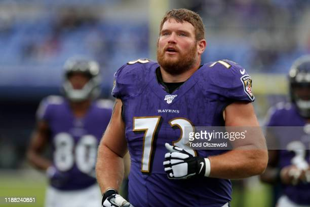 Marshal Yanda of the Baltimore Ravens looks on prior to the game against the Houston Texans at MT Bank Stadium on November 17 2019 in Baltimore...