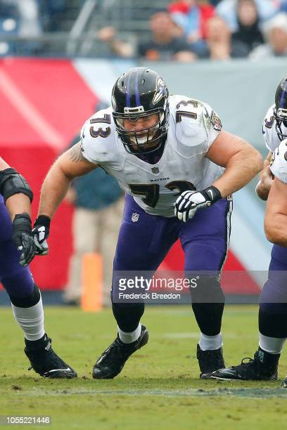 Marshal Yanda of the Baltimore Ravens plays against the Tennessee Titans at Nissan Stadium on October 14 2018 in Nashville Tennessee