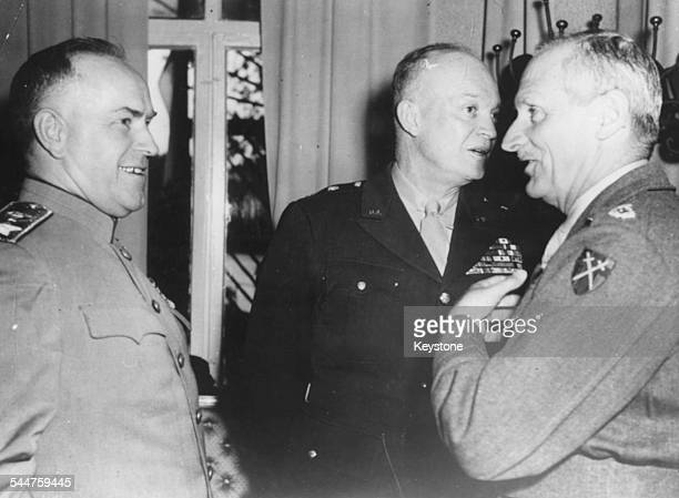 Marshal Zhukov General Eisenhower and Field Marshal Viscount Montgomery in conversation Berlin June 1945 Printed after the death of Zhukov on June...