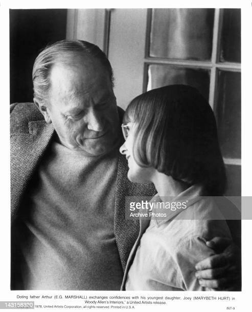 EG Marshall and Marybeth Hurt share a moment exchanging confidences in a scene from the film 'Interiors' 1978