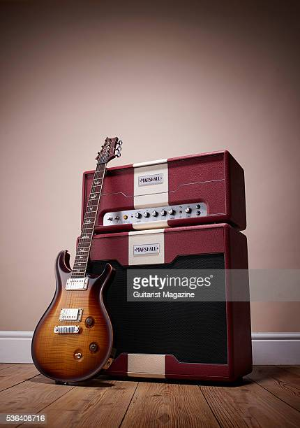 A Marshall Astoria Custom amp head 1x12 speaker cabinet and 2015 PRS McCarty electric guitar taken on September 14 2015