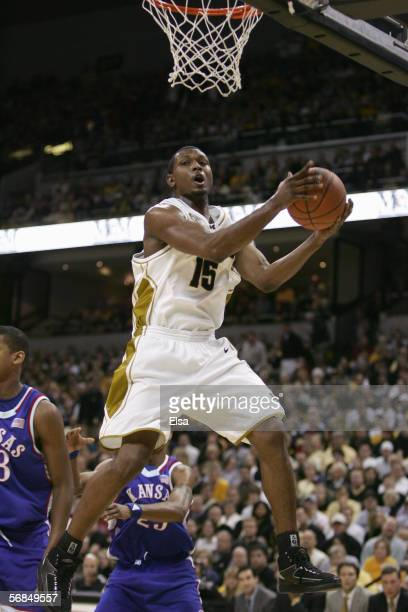 Marshall Brown of the Missouri Tigers makes a layup during the game against the Kansas Jayhawks on January 16,2006 at Mizzou Arena in Columbia,...