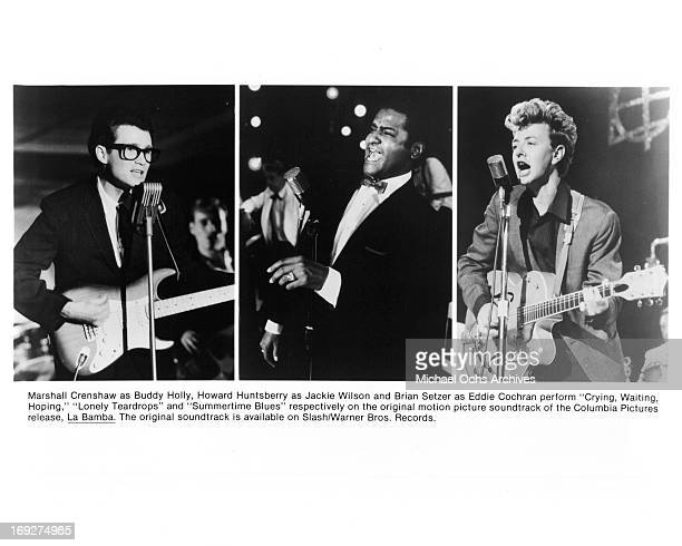 Marshall Crenshaw Howard Huntsberry and Brian Setzer performing in scenes from the film 'La Bamba' 1987