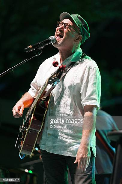 Marshall Crenshaw performs on stage during the 2014 City Parks Foundation Gala at Rumsey Playfield Central Park on June 3 2014 in New York City