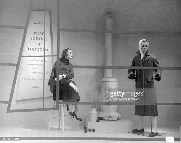 A Marshall Field's department store window display during State Street Days showing the 'New School of Thought' for college shoppers in comparison...