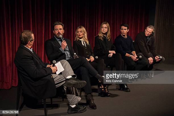 Marshall Fine Ben Affleck Sienna Miller Elle Fanning Chris Messina and Chris Cooper attend an official academy screening of LIVE BY NIGHT hosted by...