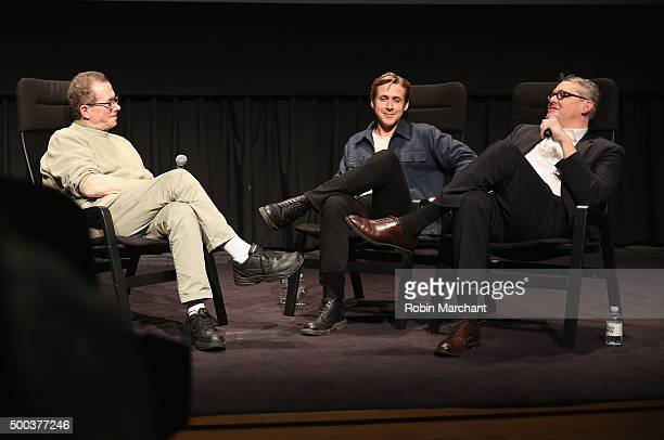 Marshall Fine Ryan Gosling and Adam McKay speak during the official Academy screening of The Big Short hosted by The Academy of Motion Picture Arts...