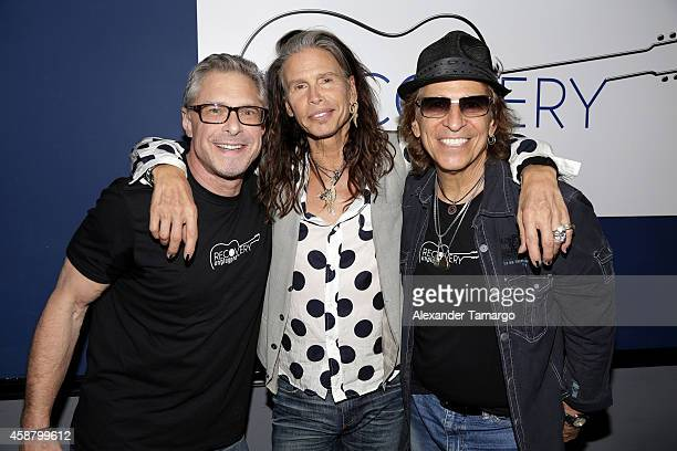 Marshall Geisser Steven Tyler and Richie Supa pose at Recovery Unplugged where Steven Tyler performed and spoke with clients of Recovery Unplugged...
