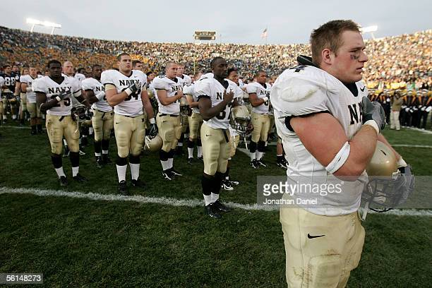 Marshall Green of the Navy Midshipman stands with his teammates during a salute following a game against the Notre Dame Fighting Irish on November 12...