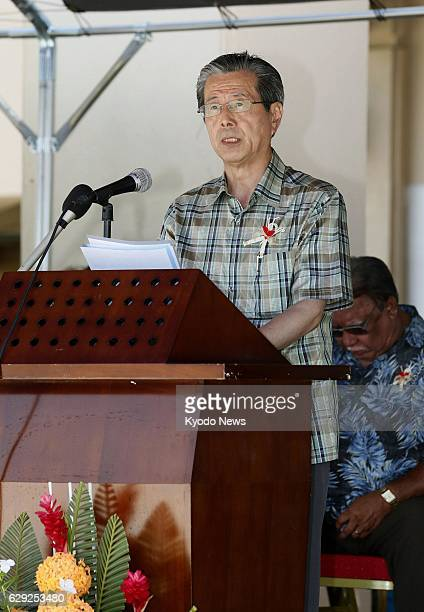 MAJURO Marshall Islands Hiroshima Peace Culture Foundation chairperson Yasuyoshi Komizo makes a speech on March 1 during a memorial ceremony marking...