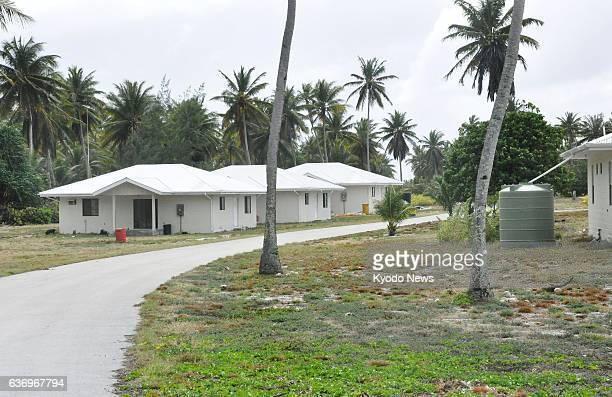 Marshall Islands - Homes built under a resettlement plan for residents who have evacuated from the Marshall Islands atoll of Rongelap are pictured in...