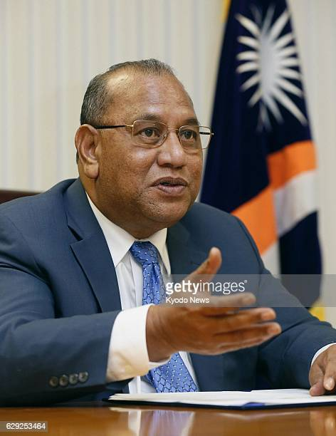 MAJURO Marshall Islands Marshall Islands President Christopher Loeak speaks during an exclusive interview with Kyodo News in Majuro the capital of...