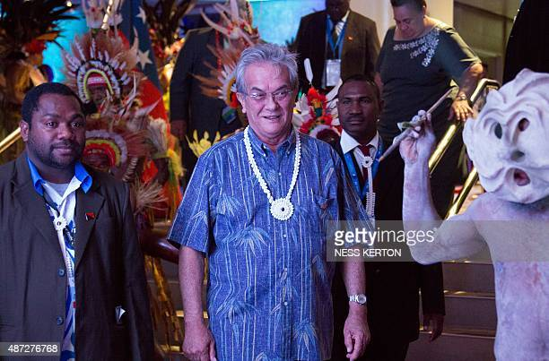 Marshall Islands President Christopher Loeak arrives for the official opening of the 46th Pacific Islands Forum in Port Moresby on September 8 2015...