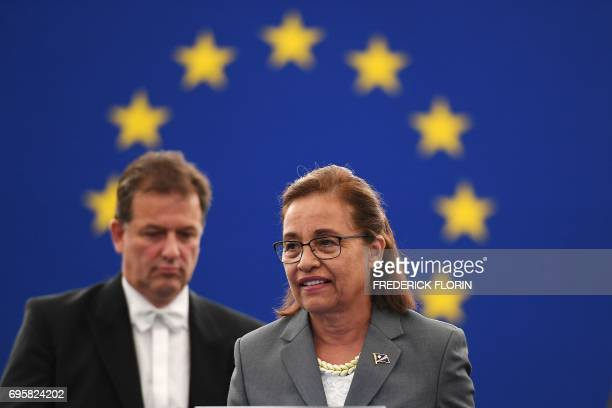 Marshall Islands President Hilda Heine arrives for a debate on US president's decision to withdraw the US from the COP 21 Climate agreement at the...