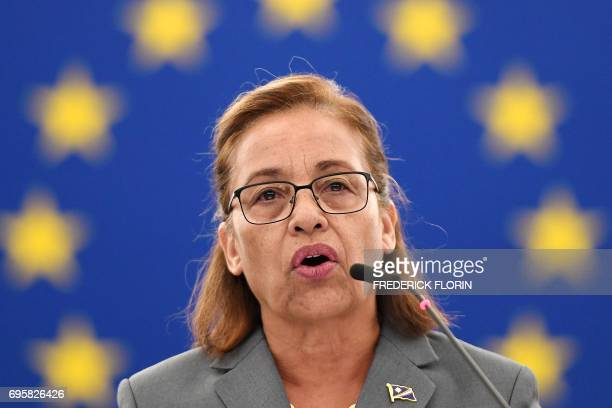 Marshall Islands President Hilda Heine delivers a speech during a debate on President Trump's decision to withdraw the US from the COP 21 Climate...