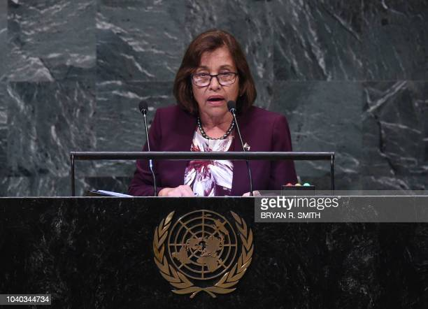 Marshall Islands' President Hilda Heine speaks at the General Debate of the 73rd session of the General Assembly at the United Nations on September...