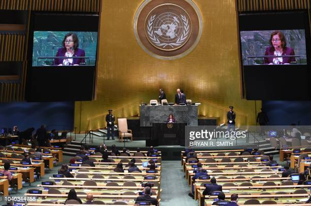 Marshall Islands President Hilda Heine waits to speak at the General Debate of the 73rd session of the General Assembly at the United Nations on...
