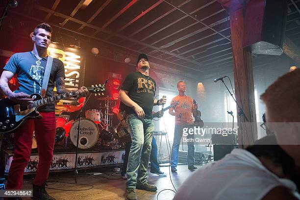 Marshall Miller, Brad Wright, and Mike Wright perform at the Nashville Crush showcase at The High Watt on July 30, 2014 in Nashville, Tennessee.