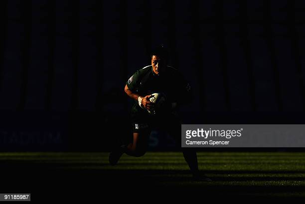 Marshall Milroy of Randwick runs the ball during the Shute Shield Final match between Sydney University and Randwick at Sydney Football Stadium on...