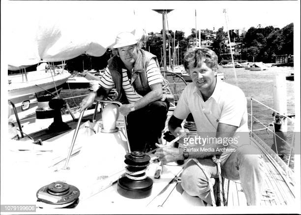 Marshall Phillips and Norm Hyett on board the yacht Defiance Moored at Mosman Bay Marina Marshall Phillips and Norm Hyett first a little cruising to...