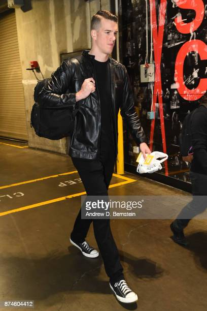 Marshall Plumlee arrives at the arena before the game against the Philadelphia 76ers on November 13 2017 at STAPLES Center in Los Angeles California...