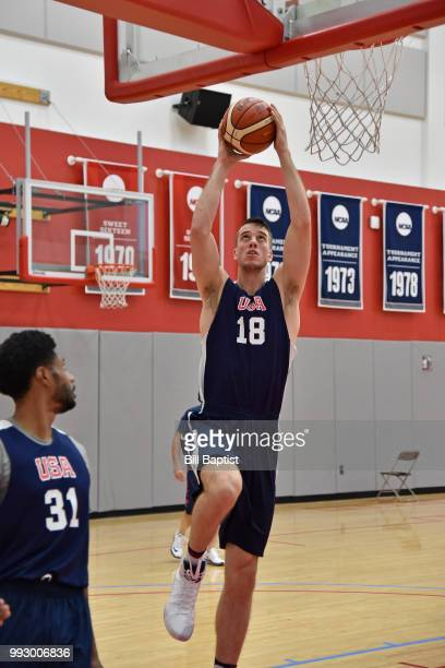 Marshall Plumlee of Team USA goes to the basket during practice at the University of Houston on June 23 2018 in Houston Texas NOTE TO USER User...