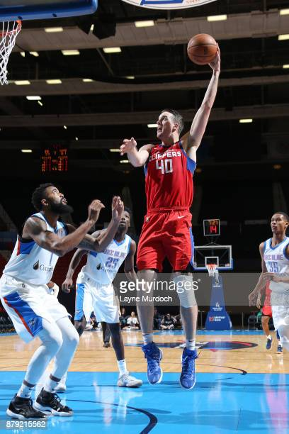 Marshall Plumlee of the Agua Caliente Clippers shoots the ball during an NBA GLeague game against the Oklahoma City Blue on November 25 2017 at the...